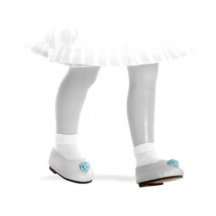 Туфли белые с голубым для кукол 32 см