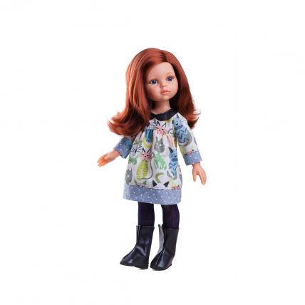 Одежда платье с котиками для куклы Кристи, 32 см