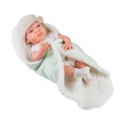 Кукла-мальчик Бэби с одеяльцем, салатовый, 36 см