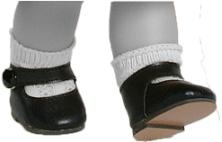 Туфли черные с застежкой, для кукол 36 см