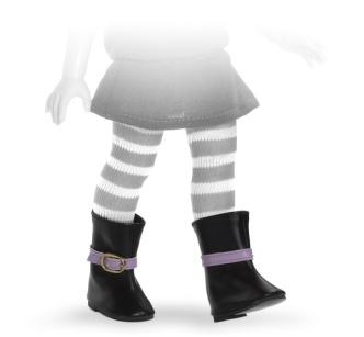 Сапоги черные с фиолетовой пряжкой, для кукол 60 см