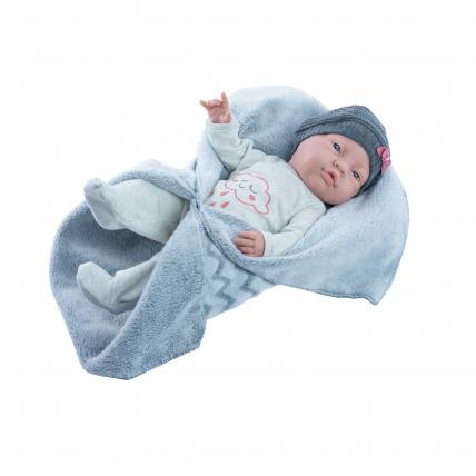 Одежда с голубым одеялом для куклы Бэби, 45 см