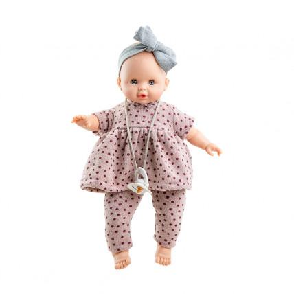 Кукла Соня в наряде в горошек с серой повязкой-бантом, 36 см, озвученная