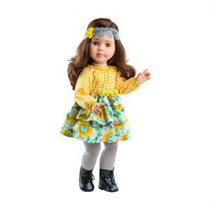 Кукла Лидия в желтом платье с кружевной повязкой, шарнирная, 60 см