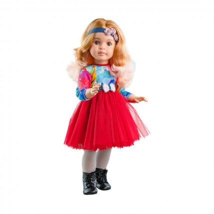 Кукла Марта в красном платье с синей повязкой с розами, шарнирная, 60 см