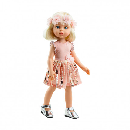 Кукла Клаудия в розовом платье с пайетками с цветочным венком, 32 см