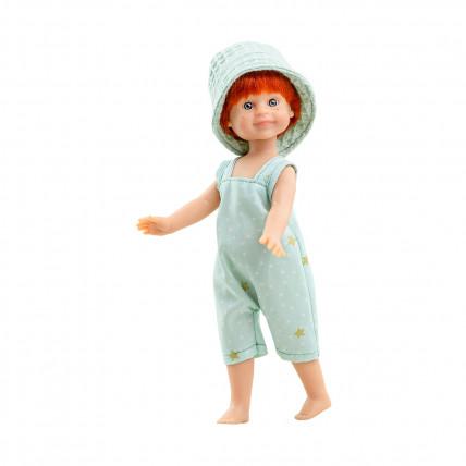 Кукла Давид в бирюзовом комбинезоне и панаме, 21 см