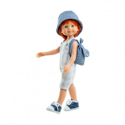 Серый комбинезон, панамка и сумочка для кукол 32 см