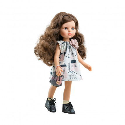 Платье с цветком, сумочка-зайчик и носочки для кукол 32 см