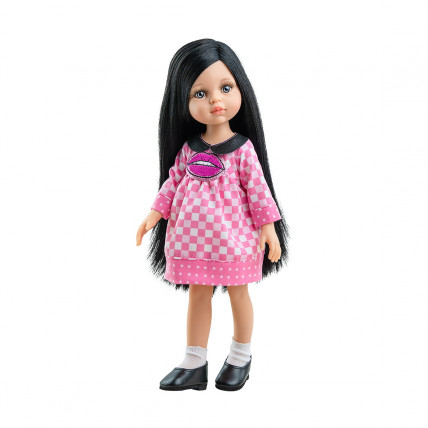 Розовое клетчатое платье и носочки для кукол 32 см