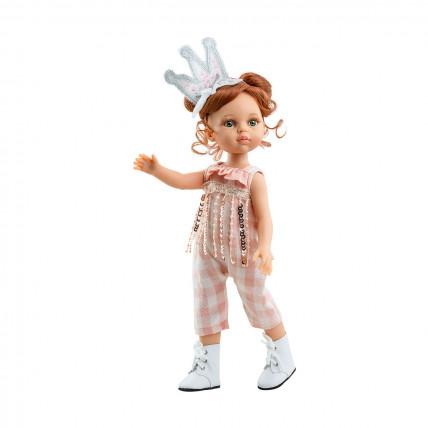 Розовый комбинезон и повязка-корона для кукол 32 см