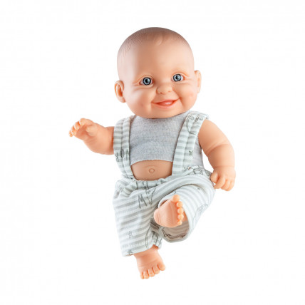 Кукла-пупс Грег в сером комбиннзоне, 22 см